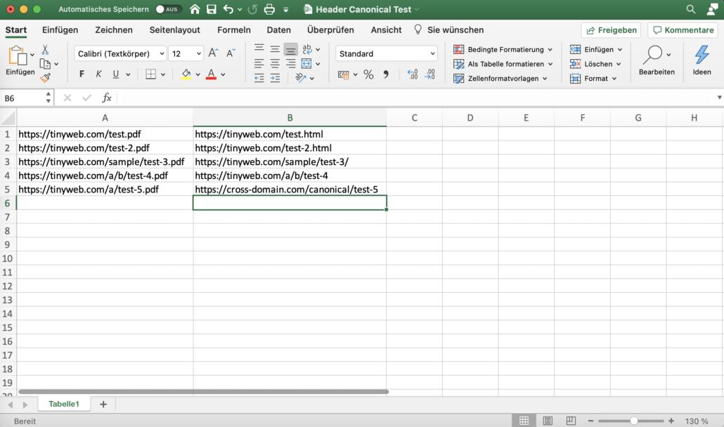 Spalte A: der Pfad zur PDF-Datei, Spalte B: die Ziel-URL des Canonical-Tag (die Seite, die statt dem PDF in Google ranken soll).