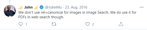 Screenshot from Twitter about John Mueller's hint that Google considers and evaluates set Canonical Tags in the head area of PDFs.